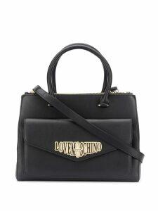 Love Moschino logo plaque tote bag - Black