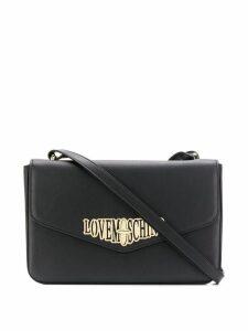 Love Moschino logo plaque crossbody bag - Black