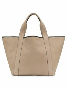 Brunello Cucinelli large logo embossed tote - Neutrals