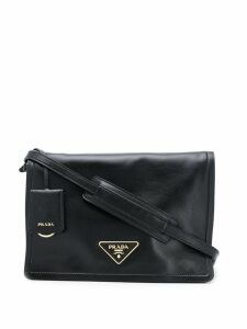 Prada triangular logo shoulder bag - Black