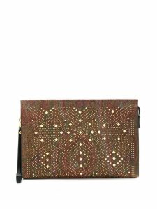 Etro gold-tone studded paisley print clutch - Brown