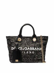 Dolce & Gabbana logo tweed shopper tote - Black
