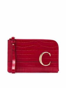Chloé The C crocodile effect pouch - Red