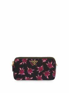 Prada graphic rose print mini-bag - Black