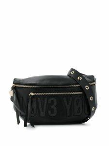 Red Valentino embroidered slogan belt bag - Black