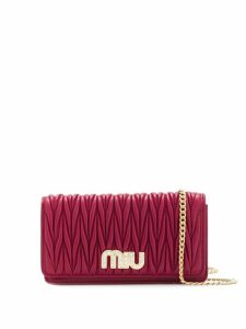 Miu Miu crystal embellished matelassé clutch - Red