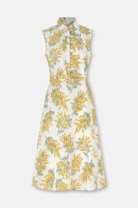 Mimosa Flower Sleeveless Shirt Dress