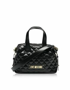 Love Moschino Designer Handbags, Black Quilted Satchel Bag