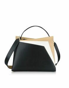Lara Bellini Designer Handbags, Tricolor Leather Vela Collage Shoulder Bag