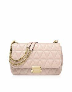 Michael Kors Designer Handbags, Large Soft Pink Quilted Leather Sloan Shoulder Bag