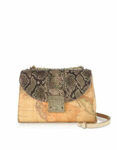 Alviero Martini 1A Classe Designer Handbags, Geo Canvas Crossbody bag w/ Animal Printed Flap