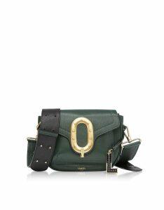 Lancel Designer Handbags, Romane Medium Dark Green Saddle Bag