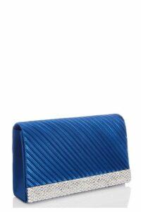 Quiz Royal Blue Satin Pleated Diamante Bag