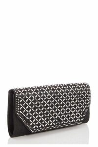 Quiz Black Shimmer Diamante Flap Bag