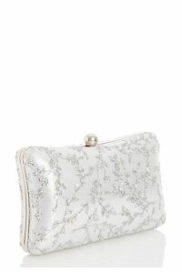 Quiz Silver Glitter Box Bag