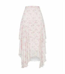 Alex Silk Tiered Midi Skirt