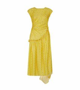 Aubrey Ruched Floral Jacquard Maxi Dress