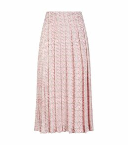 Jacquard Pleated Midi Skirt