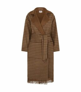 Alamo Fringed Check Wrap Coat