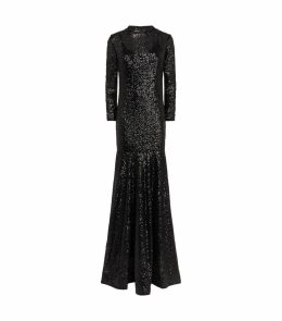 Long-Sleeved Sequin Gown