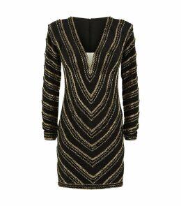 Beaded Long-Sleeved Mini Dress