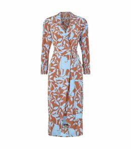 Silk Leaf Print Coat