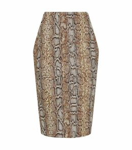 Snakeskin Print Pencil Midi Skirt