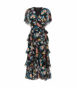 Silk Paisley Ruffle Dress