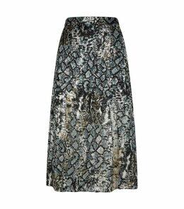 Athena Snake Slit Hem Midi Skirt