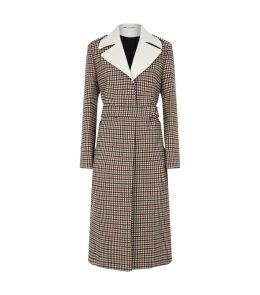 Contrast Collar Check Coat