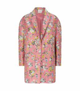 Floral Jacquard Cocoon Coat