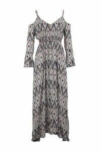 Aztec Cold Shoulder Maxi Dress