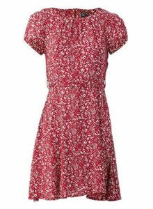 Womens *Izabel London Red Ditsy Floral Print Tea Dress, Red