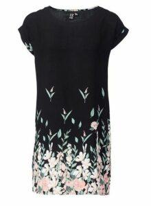 Womens *Izabel London Black Floral Print Shift Dress- Black, Black