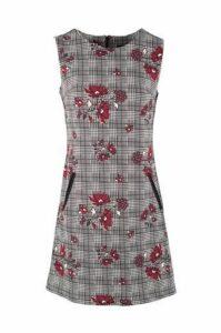 Floral & Check Print Dress