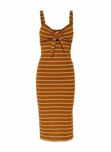 Womens **Only Rust Stripe Print Tie Dress- Red, Red