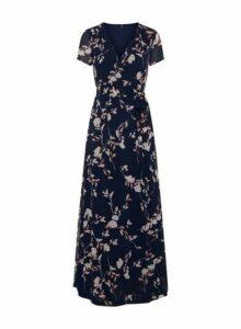 Womens **Vero Moda Navy Floral Print Wrap Dress- Blue, Blue