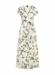 Womens **Vero Moda Ivory Floral Print Wrap Dress- Multi, Multi