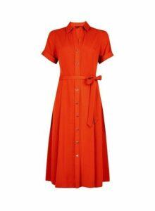 Womens Orange Button Midi Shirt Dress- Orange, Orange