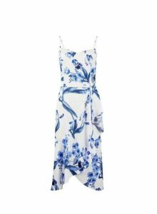 Womens **Luxe White China Floral Print Frill Camisole Dress- White, White