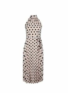 Womens Petite Pink Spot Print Halter Neck Pleated Midi Dress- Pink, Pink