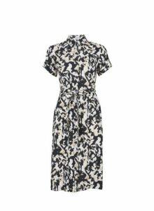 Womens Petite Multi Colour Camouflage Print Shirt Dress- Black, Black