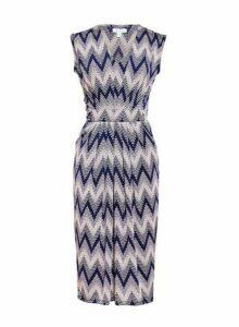 Womens *Blue Vanilla Multi Colour V-Neck Shift Dress- Navy, Navy