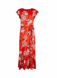 Womens Red Floral Print Jersey Midi Dress- Red, Red