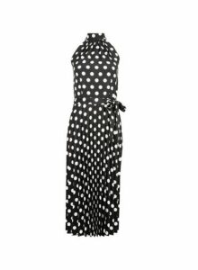 Womens Black Spot Print Halter Neck Pleated Midi Dress, Black