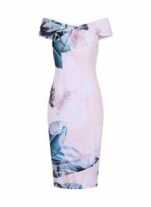 Womens **Little Mistress Pink Printed Bardot Bodycon Dress- Multi Colour, Multi Colour