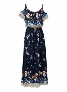 Womens *Izabel London Navy Cold Shoulder Maxi Dress- Blue, Blue