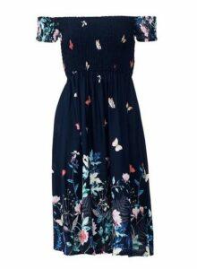 Womens *Izabel London Navy Floral Print Bardot Dress- Blue, Blue
