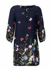 Womens *Izabel London Navy Floral Print Tie Neck Dress- Blue, Blue