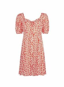 Womens **Red Ditsy Print Tea Dress- Red, Red
